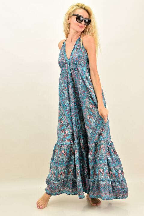 Γυναικείο boho φόρεμα με άνοιγμα στην πλάτη - Γαλάζιο