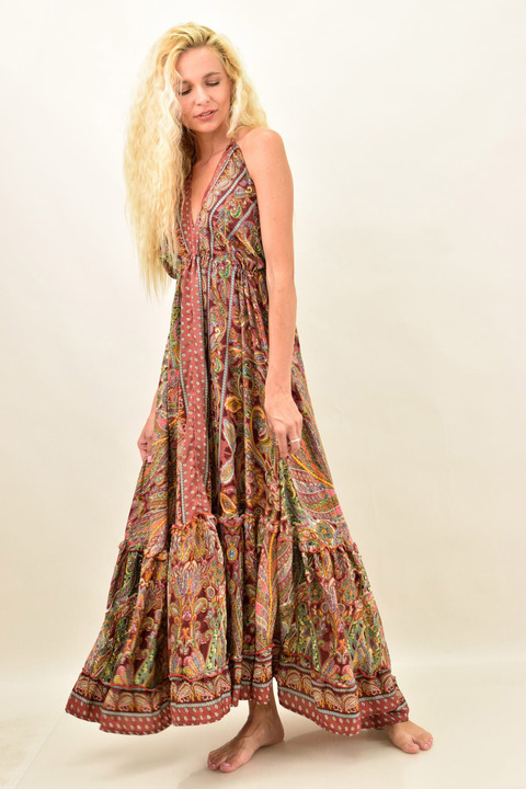 Γυναικείο boho φόρεμα με άνοιγμα στην πλάτη - Μπορντώ
