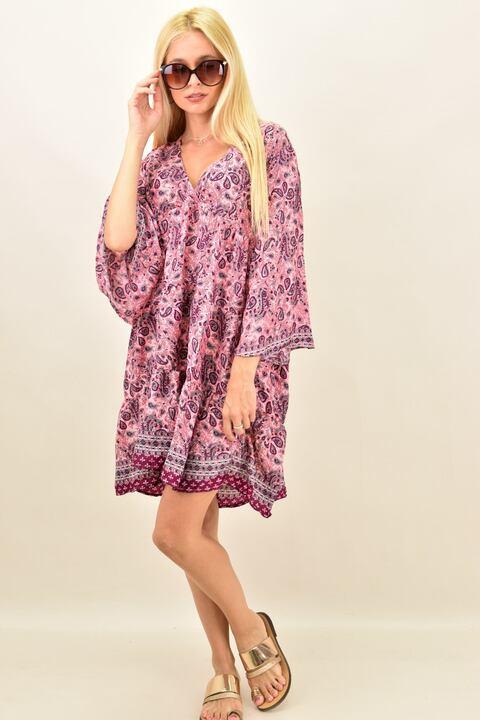 Γυναικείο μεταξωτό boho φόρεμα midi - Ροζ