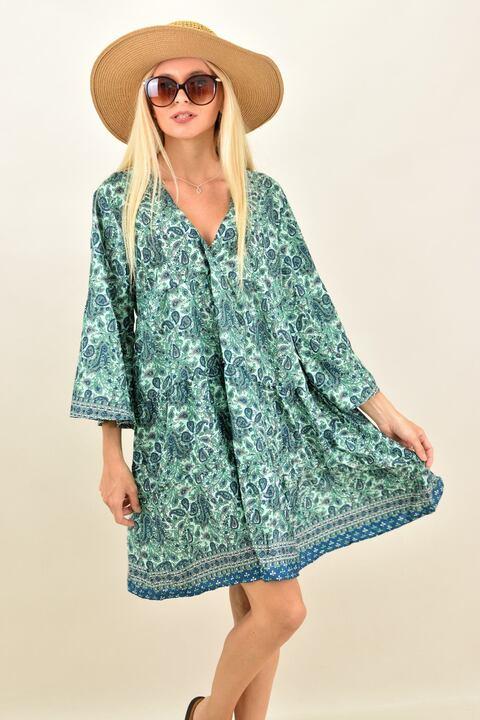 Γυναικείο μεταξωτό boho φόρεμα midi - Βεραμάν