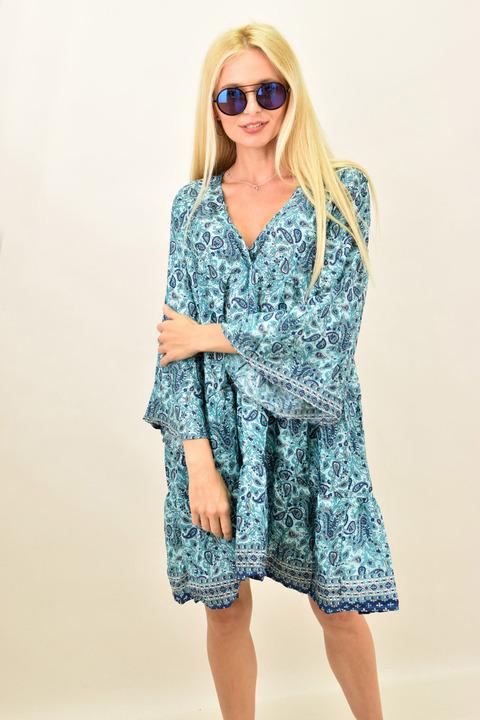 Γυναικείο μεταξωτό boho φόρεμα midi - Μπλε