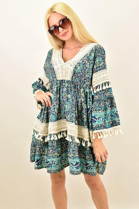 Γυναικείο μεταξωτό boho φόρεμα με δαντέλα - Μπλε
