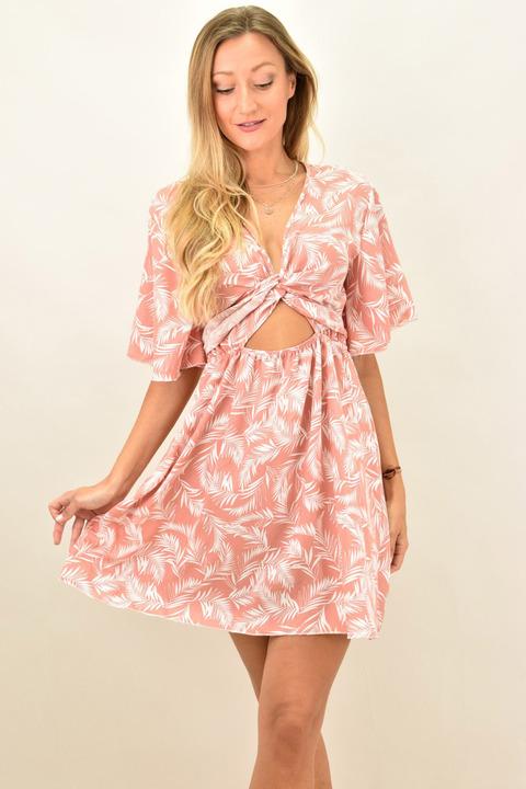 Γυναικείο φόρεμα με κόμπο - Σομόν