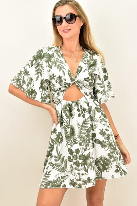Γυναικείο φόρεμα με κόμπο - Λαδί