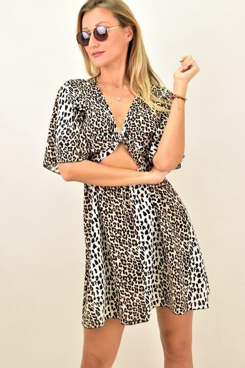 Γυναικείο φόρεμα με κόμπο animal print - Animal Print