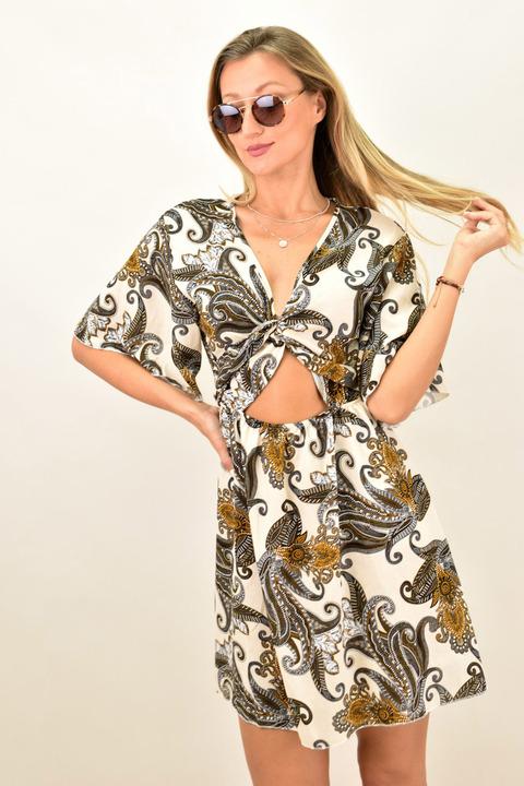 Γυναικείο φόρεμα με κόμπο - Μπεζ
