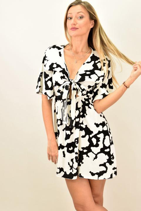 Γυναικείο φόρεμα με κόμπο - Μαύρο