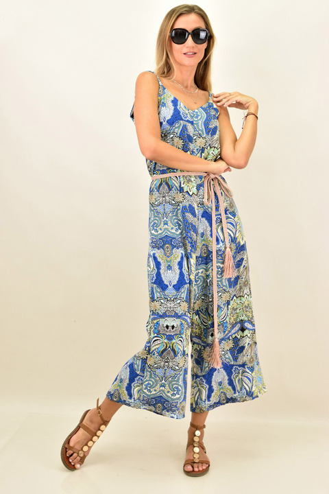 Ολόσωμη φόρμα εμπριμέ - Μπλε Ρουά