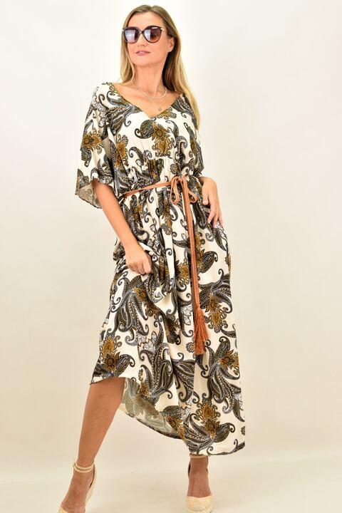 Γυναικείο μακρύ φόρεμα αέρινο - Μπεζ