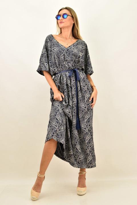 Γυναικείο μακρύ φόρεμα αέρινο - Μπλε Σκούρο
