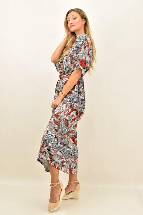 Γυναικείο μακρύ φόρεμα αέρινο - Κεραμιδί