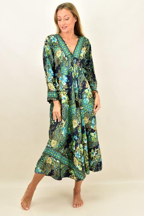 Γυναικείο μεταξωτό boho φόρεμα - Μπλε Σκούρο