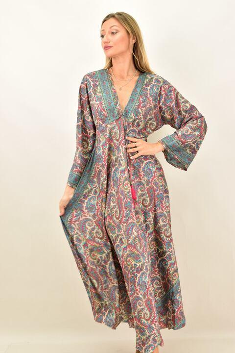 Γυναικείο μεταξωτό boho φόρεμα - Γαλάζιο