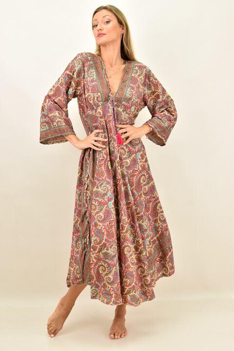 Γυναικείο μεταξωτό boho φόρεμα - Μπεζ