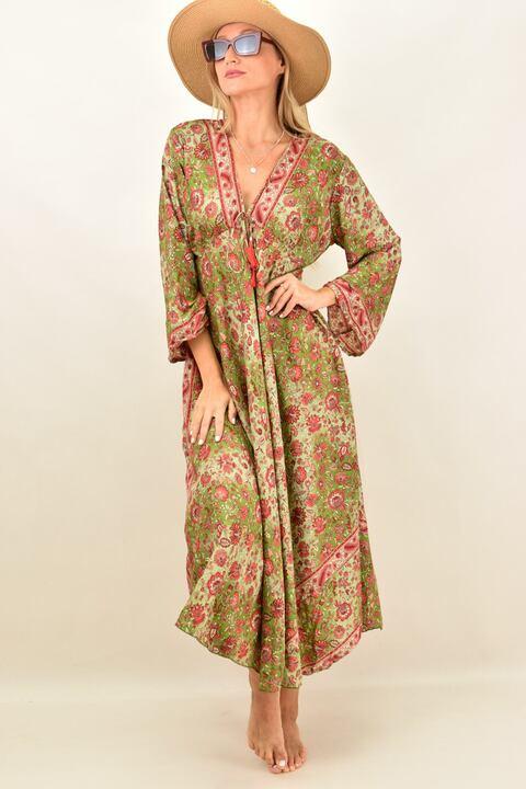 Γυναικείο μεταξωτό boho φόρεμα - Πράσινο