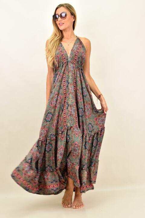 Γυναικείο boho φόρεμα με άνοιγμα στην πλάτη - Ροζ