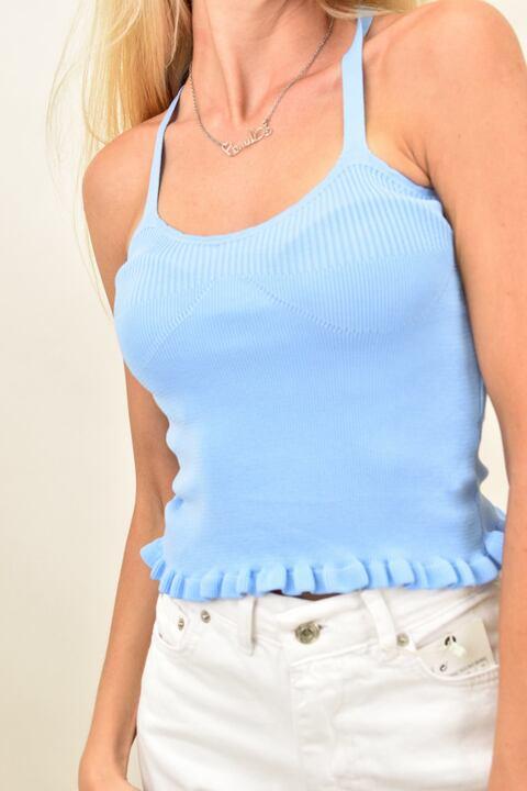 Γυναικείο εφαρμοστό τοπ χιαστί με βολάν - Γαλάζιο