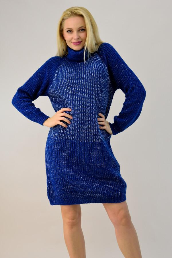 Πλεκτό φόρεμα ζιβάγκο λούρεξ - Μπλε Ρουά ... 9fcbf11f444