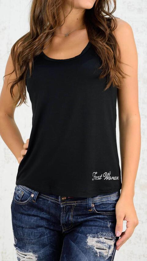 Αμάνικο μπλουζάκι με δαντέλα - Μαύρο