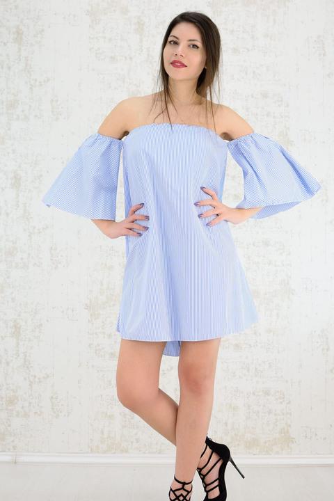Φόρεμα κοντό σε Α γραμμή ριγέ - Μπλε