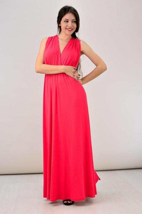 Μονόχρωμο κρουαζέ μάξι φόρεμα - Κοραλί