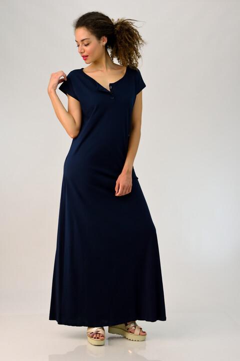 Μακρύ φόρεμα με κουμπάκια - Μπλε Σκούρο