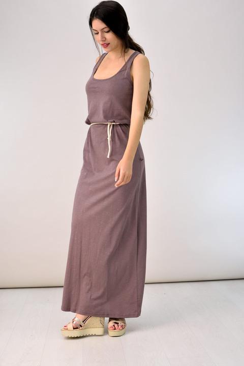 Μακρύ φόρεμα με άνοιγμα στην πλάτη - Μπεζ