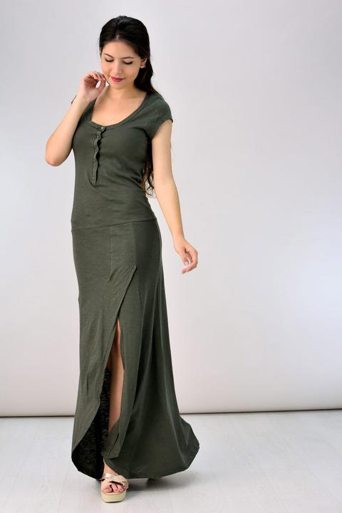 Μακρύ βαμβακερό φόρεμα - Χακί