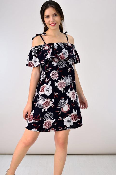 Mini floral φόρεμα - Μαύρο
