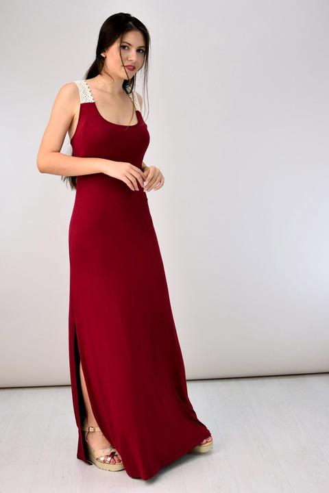 Φόρεμα με τιράντα δαντέλα - Μπορντώ