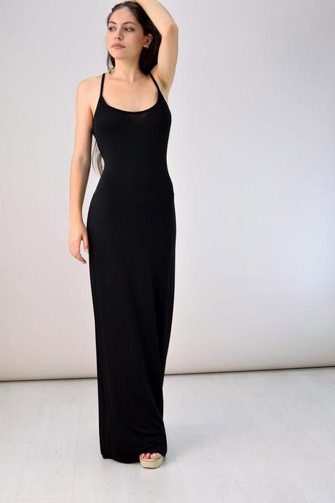 Μακρύ φόρεμα με μεγάλο άνοιγμα πλάτης - Μαύρο
