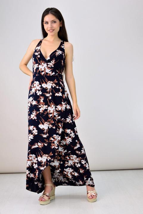 Μακρύ κρουαζέ φόρεμα - Μαύρο