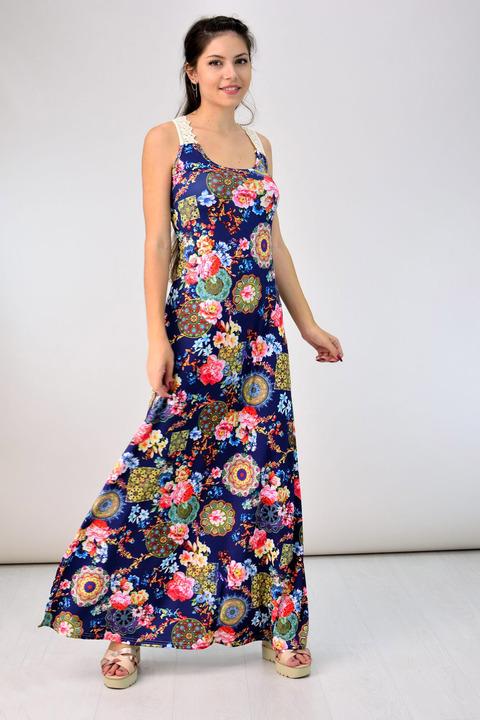 Φόρεμα με τιράντα δαντέλα - Μπλε Σκούρο