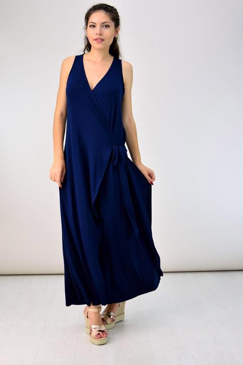 Maxi φόρεμα με ζώνη - Μπλε Σκούρο