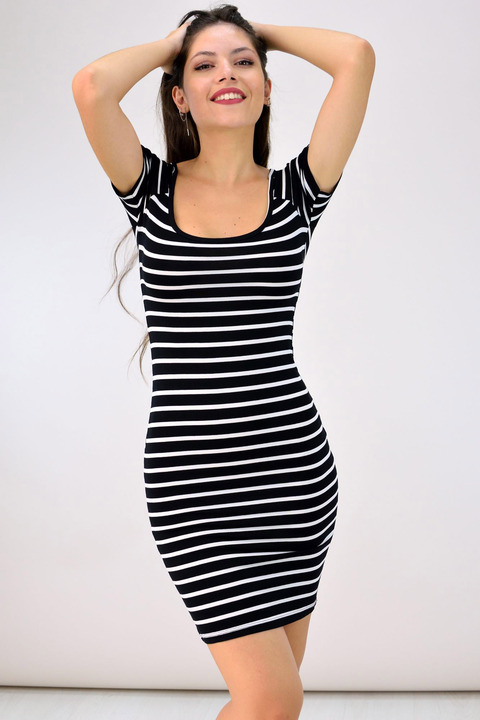 Μίνι φόρεμα με ανοίγματα στην πλάτη - Μαύρο