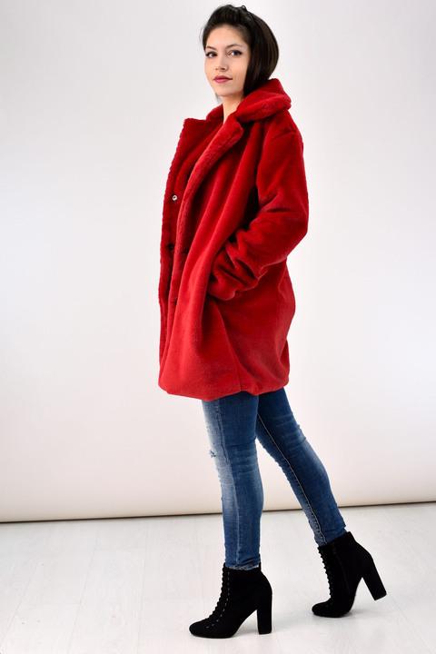 Γούνινο παλτό - Κόκκινο
