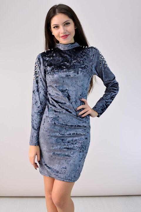 Φόρεμα βελούδινο με πέρλες - Γκρι