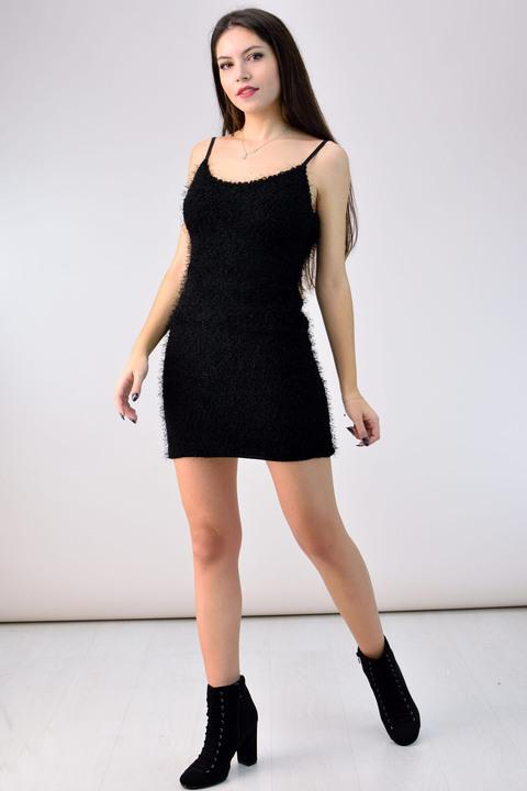 Φόρεμα με χνουδωτή υφή - Μαύρο