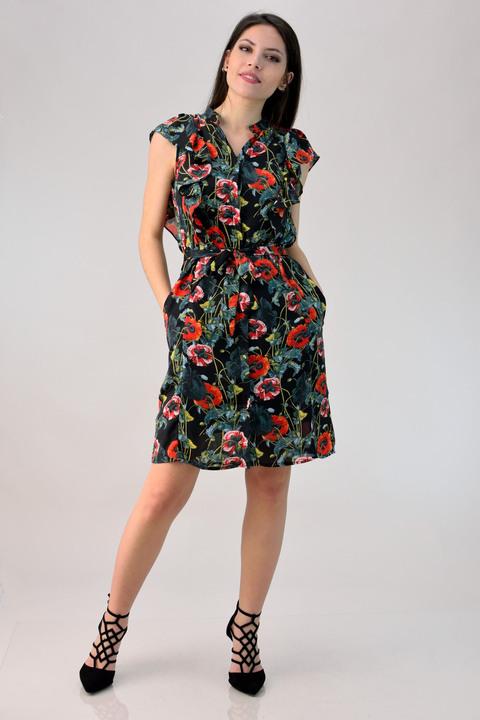 Φόρεμα floral με βολάν - Μαύρο