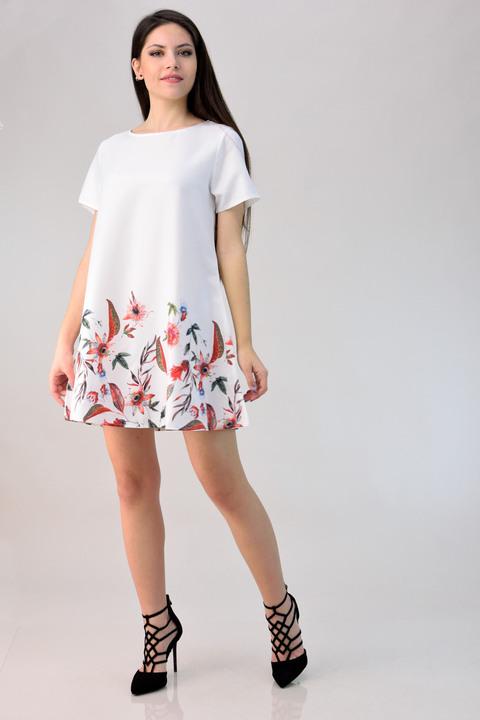 Φόρεμα μίνι φλοράλ - Λευκό