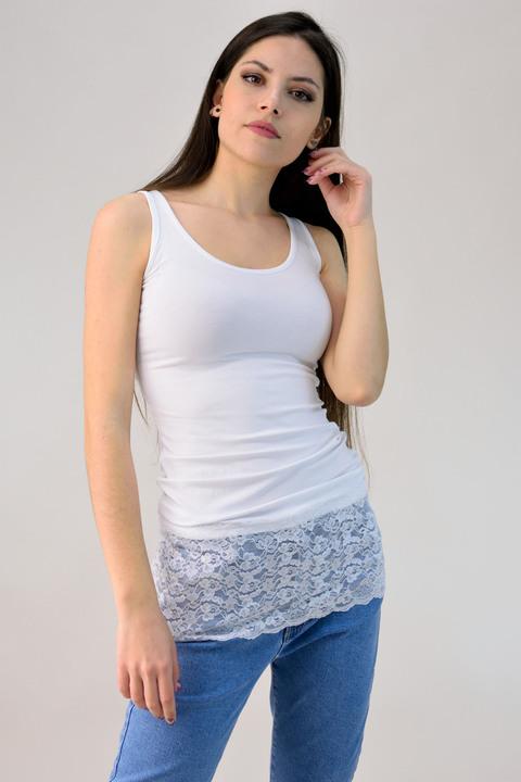 Μπλούζα με δαντέλα - Λευκό