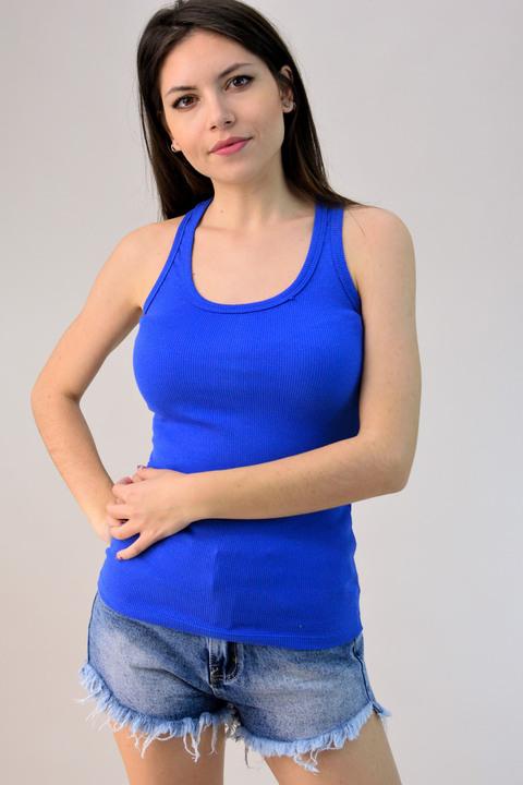 Μπλούζα αμάνικη ριπ - Μπλε Ρουά
