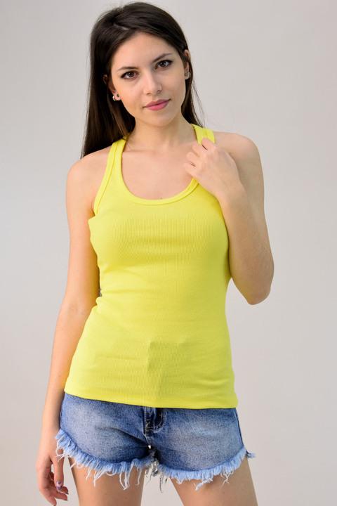 Μπλούζα αμάνικη ριπ - Κίτρινο