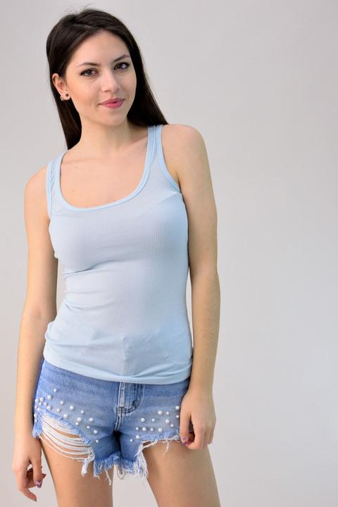 Μπλούζα αμάνικη σε ριπ ύφανση - Σιέλ