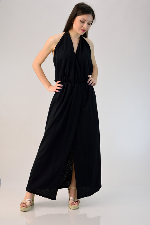 Φόρεμα εξώπλατο κρουαζέ - Μαύρο