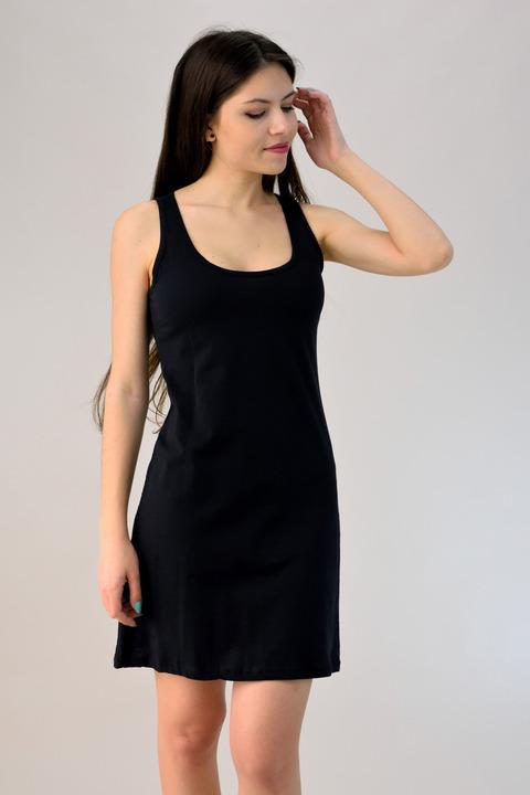 Μίνι φόρεμα με άνοιγμα στη πλάτη - Μαύρο