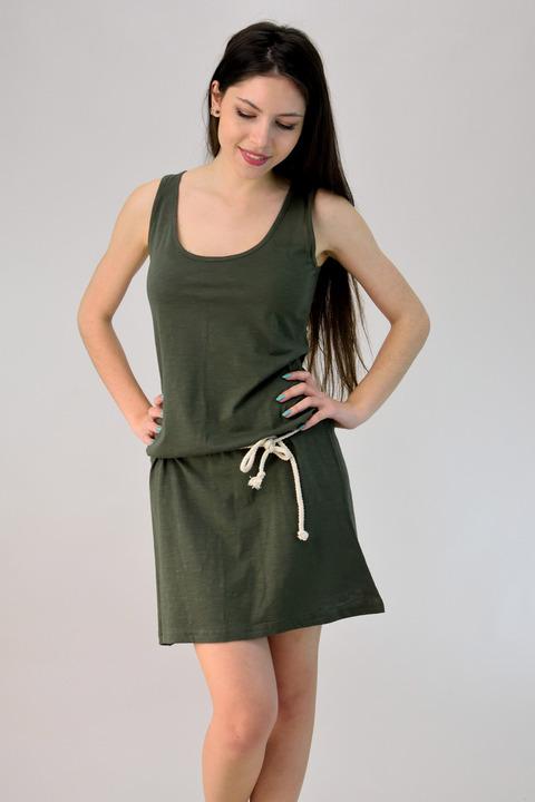 Φόρεμα μίνι με ζώνη - Λαδί