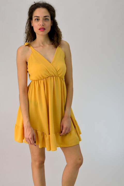 Μίνι φόρεμα κρουαζέ με βολάν - Κίτρινο