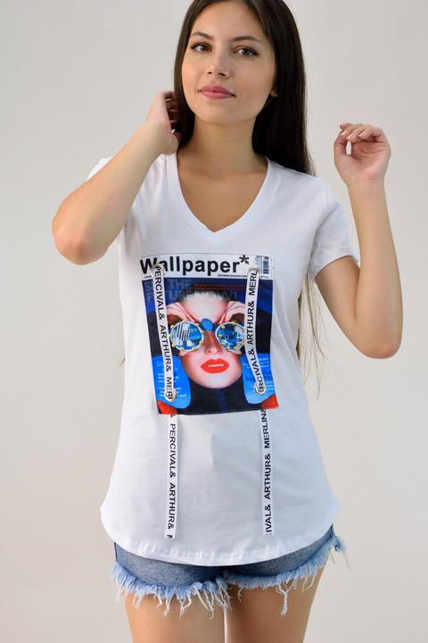 Μπλούζα με τύπωμα και διακοσμητικά στοιχεία - Λευκό