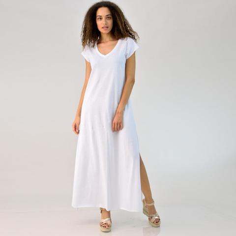 Μακρύ φόρεμα με V λαιμόκοψη